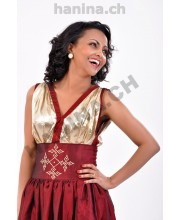 Saba Ethiopian Dress Bordeaux  ሳባ ቀሚስ ቀይ ቡናማ በኦርጋንዛ