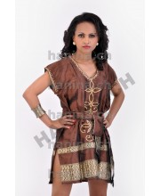 Modern ethiopian short dress with brown Saba Tilf አጭር ሳባ በጥለት ብናማ
